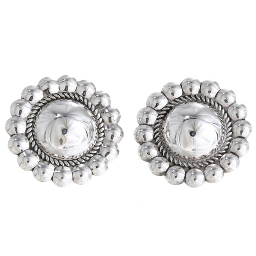 Navajo Silver Concho Earrings 10658