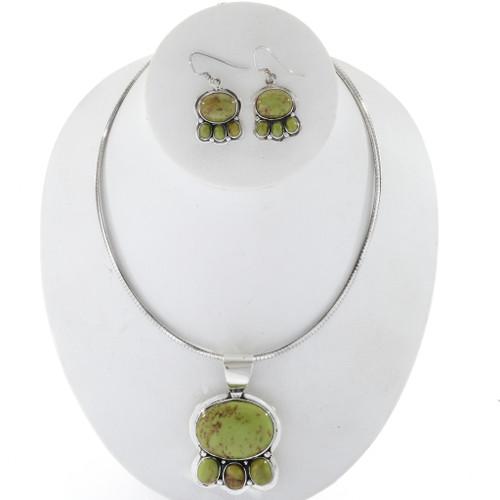 Gaspeite Silver Necklace Set 27699