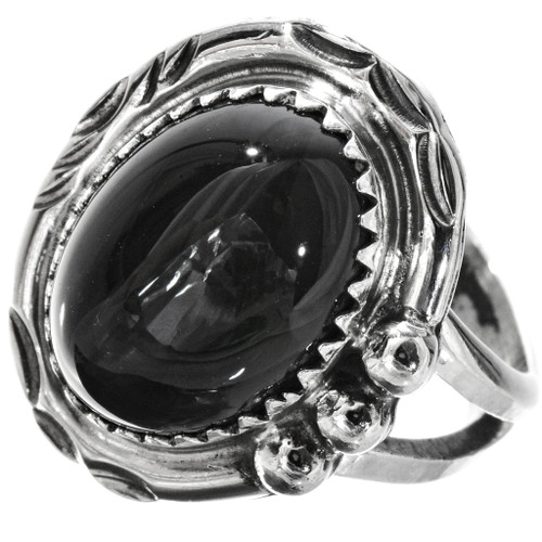 Black Onyx Ladies Silver Ring 28744