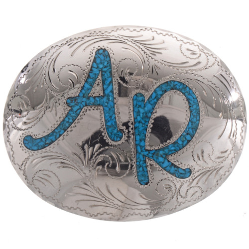 Inlaid Turquoise Western Belt Buckle 28329