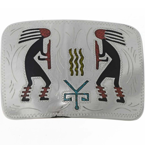 Inlaid Kokopelli Silver Belt Buckle 19512