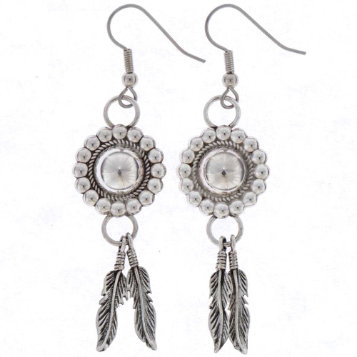 Silver Concho Feather Earrings 16355