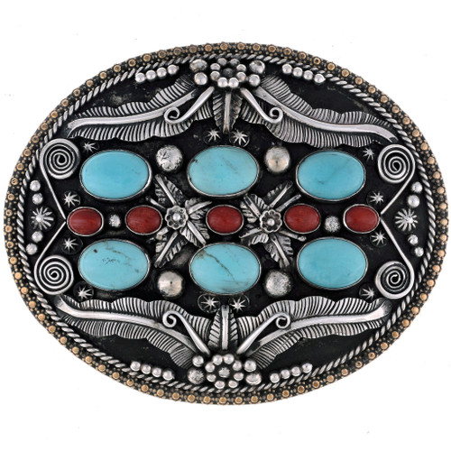 Turquoise Coral Belt Buckle 24677
