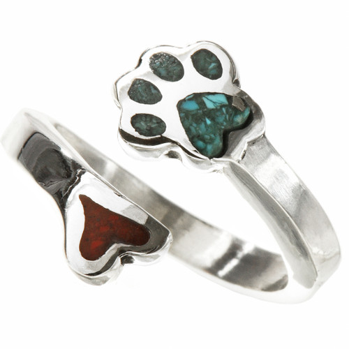 Native American Dog Paw Turquoise Silver Ring 28767