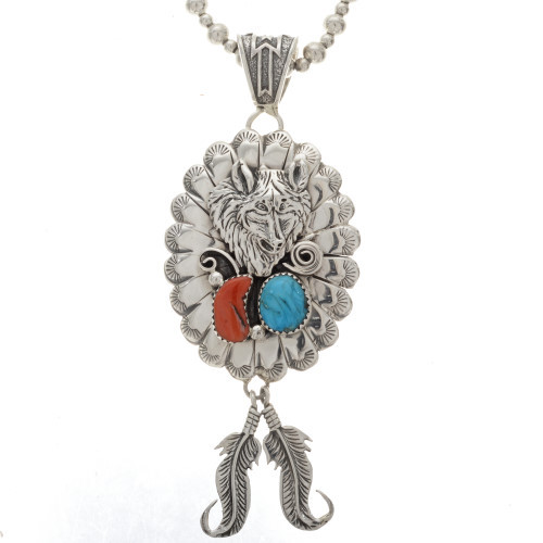 Navajo Turquoise Coral Wolf Pendant 25187