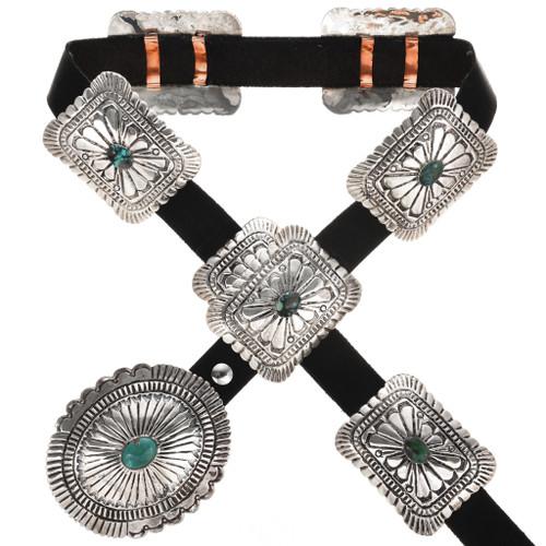 Spiderweb Turquoise Navajo Silver Concho Belt 15356