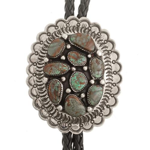 Navajo Turquoise Silver Bolo Tie 23411