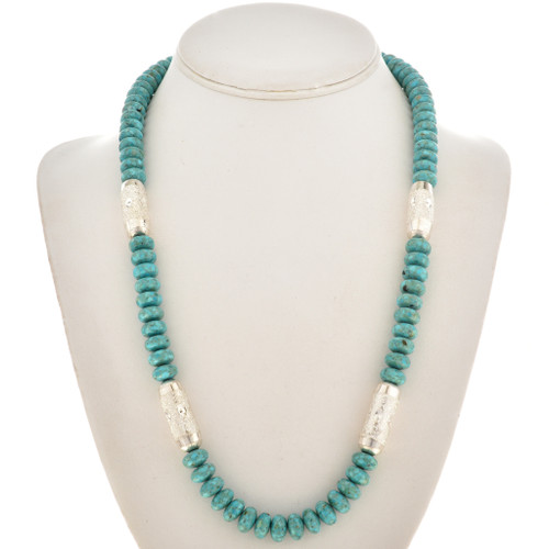 Turquoise Silver Native American Necklace 21601