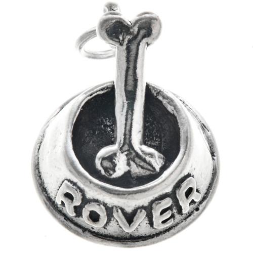 Sterling Silver Dog Bowl Bone Charm 35436