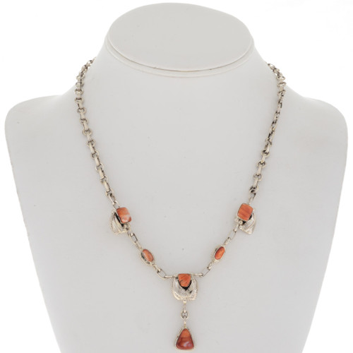 Spiny Oyster Silver Y Necklace 27733