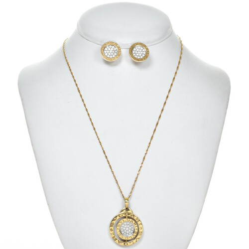 Vintage Bulgari Pendant Set 18K Gold 28642