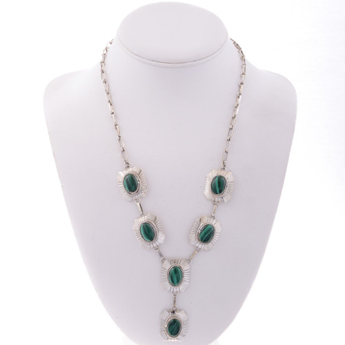 Malachite Silver Y Necklace 19039