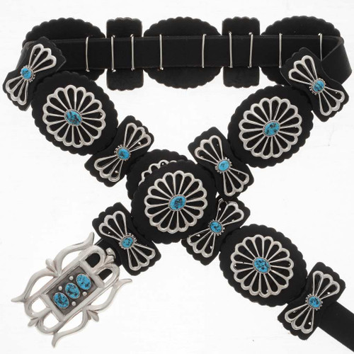 Turquoise Sterling Concho Belt 26283
