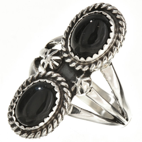 Native American Ladies Onyx Silver Ring 25928