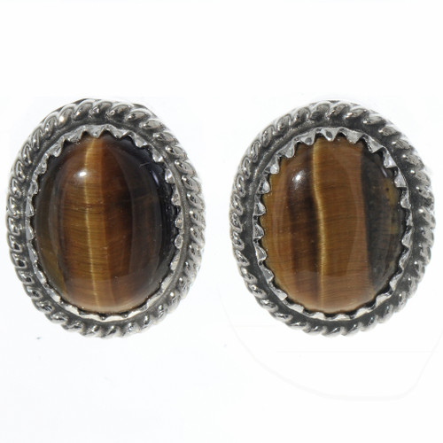 Tigers Eye Silver Navajo Earrings 28445