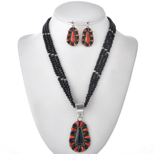 Onyx Silver Spiny Oyster Pendant Necklace Set 29626