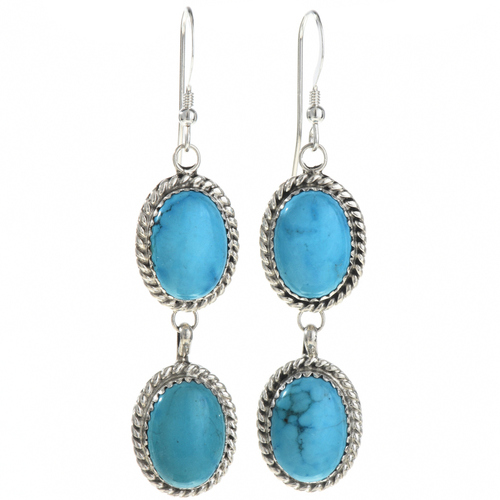 Turquoise Silver Dangle Earrings 22397