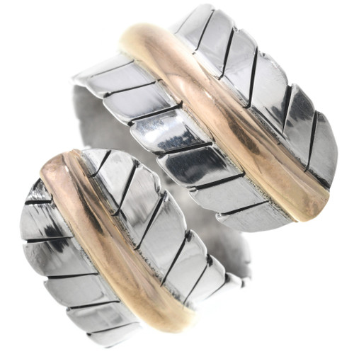 Navajo Silver Feather Gold Bypass Ring 14991