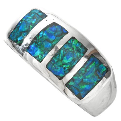 Inlaid Opal Silver Navajo Mens Ring 29527