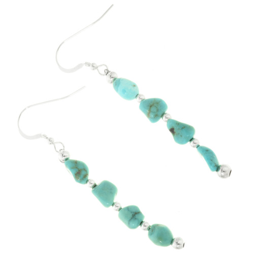 Natural Turquoise Nugget Earrings 28269
