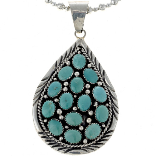 Navajo Turquoise Teardrop Pendant 19495