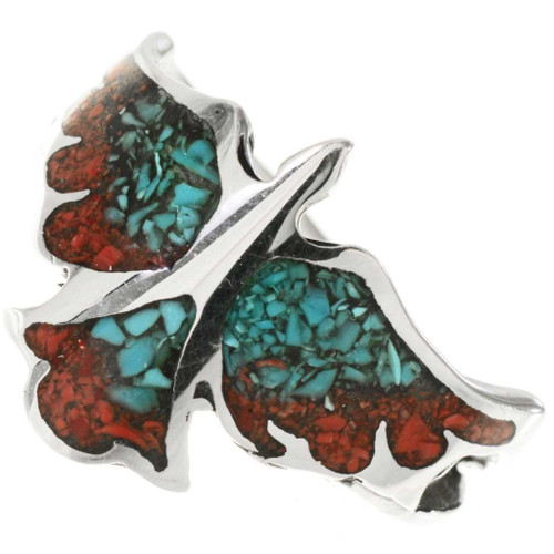 Turquoise Coral Inlaid Silver Ladies Ring 27566