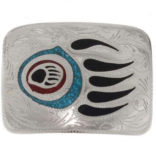 Inlaid Bear Paw Silver Belt Buckle 27262