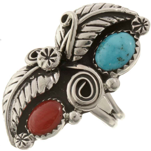 Turquoise Coral Navajo Ring 26247