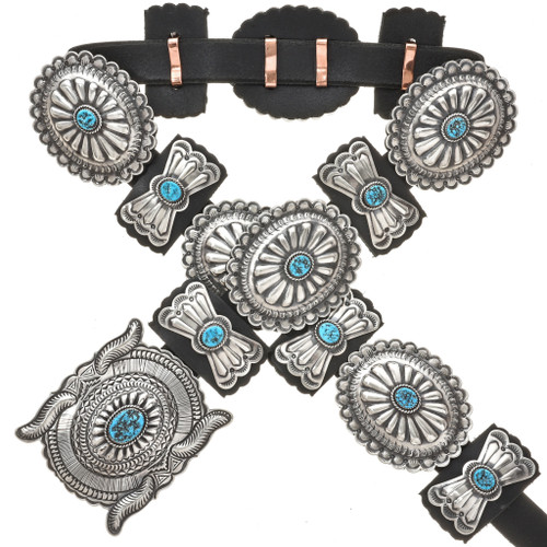 Navajo Turquoise Silver Concho Belt 29013