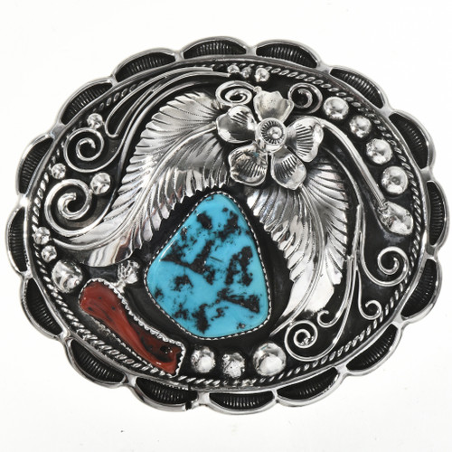 Handmade Turquoise Coral Belt Buckle 29172