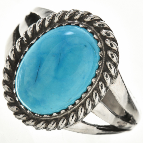 Blue Turquoise Silver Ring 28965