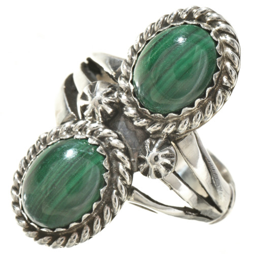 Malachite Silver Ladies Ring 25426