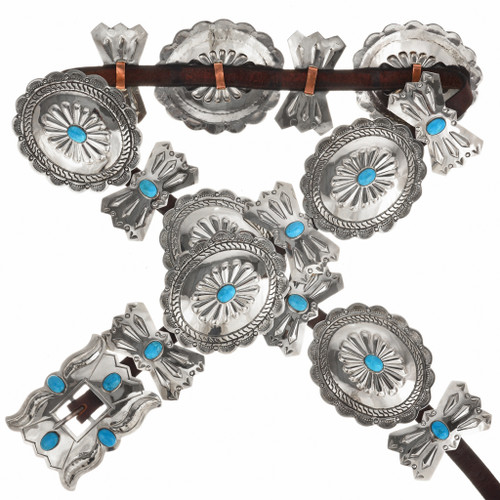 Blue Turquoise Silver Concho Belt 15881