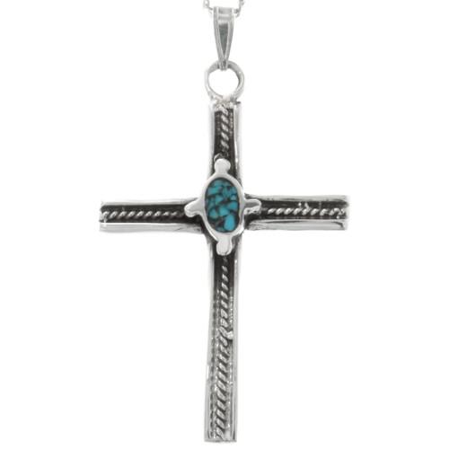 Navajo Inlaid Turquoise Cross Pendant 27420