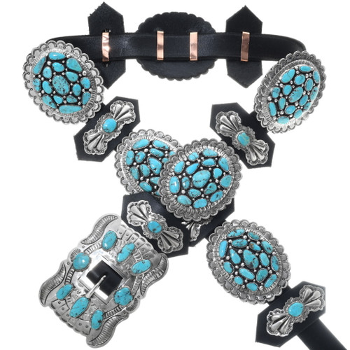 Turquoise Cluster Silver Concho Belt 19336