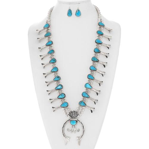 Turquoise Squash Blossom Necklace 29372