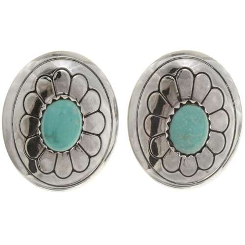 Navajo Turquoise Concho Earrings 22394