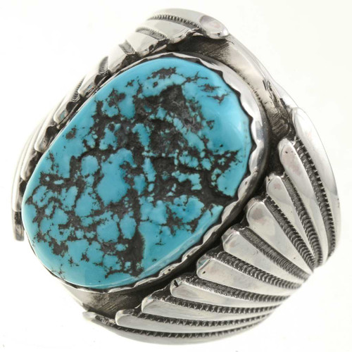 Turquoise Silver Mens Ring 26830