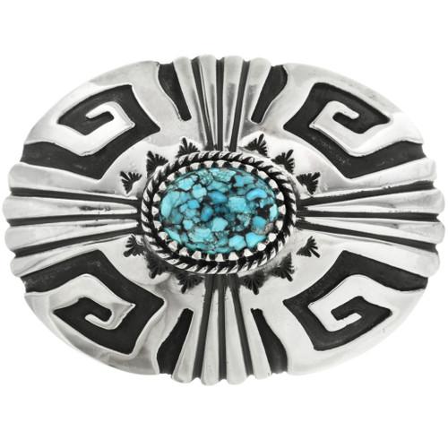 Spiderweb Turquoise Silver Belt Buckle 29653