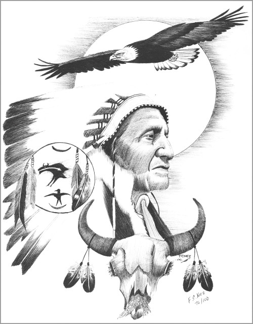Navajo Soaring Eagle Ink Drawing Print by Native American Frankie C Nez