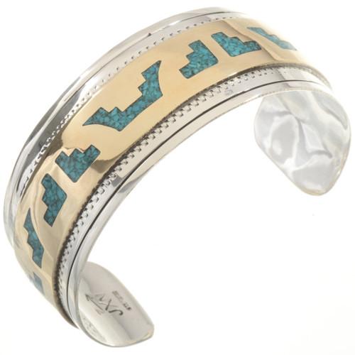 Turquoise Gold Silver Bracelet 17797