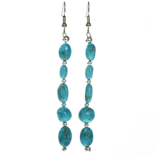 Natural Turquoise Silver Earrings 29032