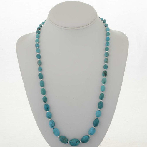 Turquoise Silver Bead Necklace 26789
