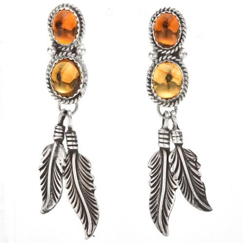 Navajo Citrine Silver Dangle Earrings 29458