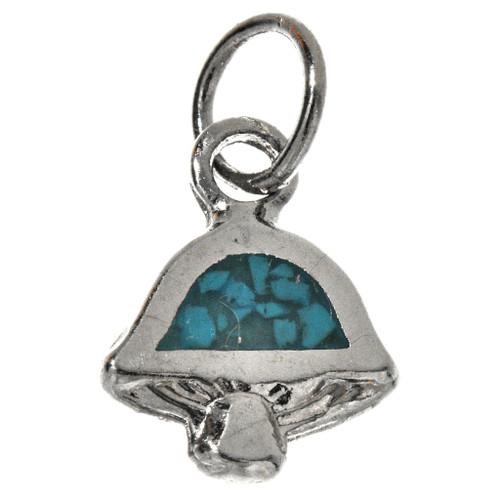Turquoise Silver Inlaid Mushroom Charm 17439
