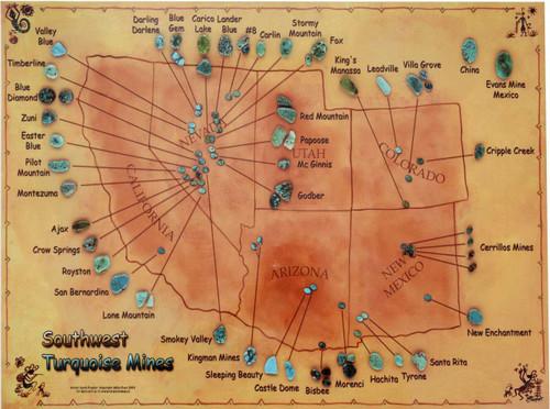 Southwest Turquoise Mine Location Map 3239