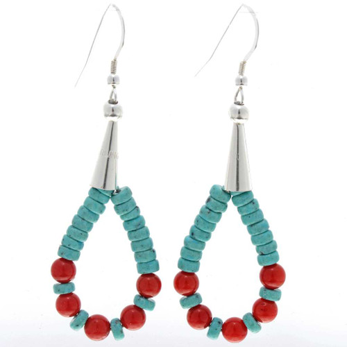 Native American Turquoise Coral Earrings 23733