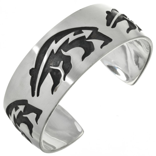 Navajo Heartline Bear Silver Cuff 10396