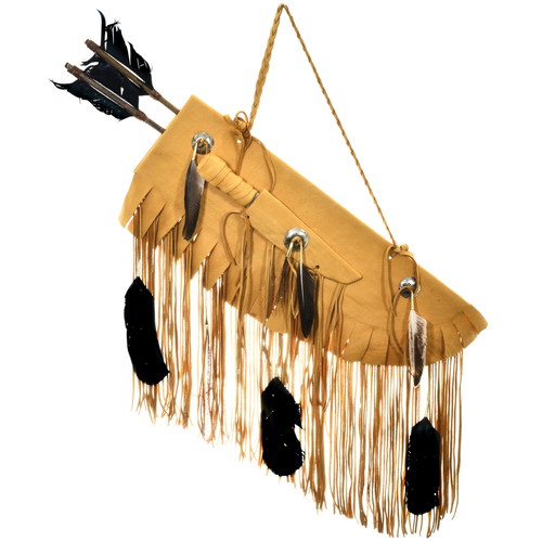 Buckskin Quiver with Arrows Bone Knife