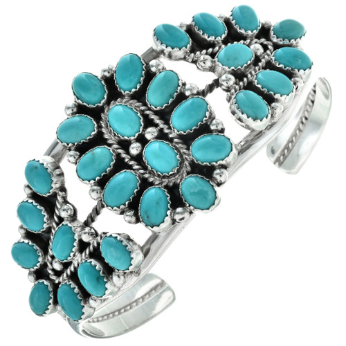 Turquoise Cluster Silver Navajo Cuff 29353